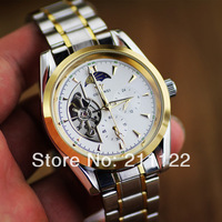 Men  Automatic Watch 5 Hands Multifunction Mechanical Watch Swiss Wrist watch full steel men  watches Free Ship