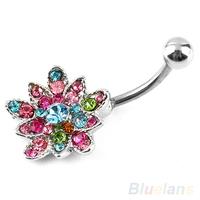 Stainless Rhinestone Flower Crystal Belly Navel Button Bar Ring Piercing  06ZU