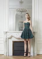 2014 Zuhair Muard Cocktail Dresses A-line Sweetheart Sleeveless Lace Dark Green Appliques Short Mini Homecoming Dress