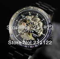 Mens Automatic Mechanical Watch Black Skeleton  Stainless Steel Quartz Watches Men Military Quartz Watch