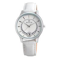 Fashion rhinestone calendar leather belt watch