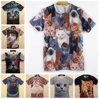 Sale!!!2014 spring Fashion women/men galaxy cats print short sleeve novely 3d t shirt top Plus Size M/L/XL/XXL