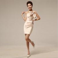 FREE SHIPPING Wholsale New Arrival 2014 Brocade Short Design Elegant Wedding Dress Fashional Bowknot Formal Dress