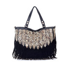 2013 bag women's handbag fashion messenger bag rivet bag leopard print tassel big bags black(China (Mainland))