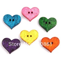 Lovely Colorful Little Peach Heart Pattern Shape Fashion 2 Holes Wood Sewing Buttons Free Shipping 161722