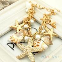 Ocean Style Multi Starfish Sea Star Conch Shell Pearl Chain Beach Bracelet Bangle Novelty Hot Selling 0433