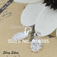 100PCS Silver Tone Leaf Shape Glue on Bails Pendant For Necklaces Finding