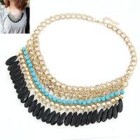 2014 Fashion Bohemian Handmade Acrylic Droplets Temperament Short Necklace Short Sweater Chain For Women fashion jewelry
