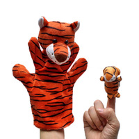 Chinese Zodiac Tiger 5set/lot Baby Plush Toy,Story Talking Props,Stuffed Dolls( Set of Hand Puppets+Finger Puppets Animals)