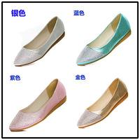 2014 fashion flat heel diamond single shoes women's shoes rhinestone  pointed toe flat bottom