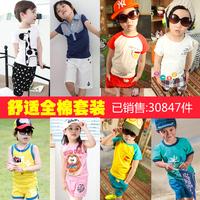 2014 summer children's clothing short-sleeve capris t-shirt sports set child baby child male female child 7309