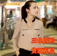 New Korean hit color gold buckle small collar shirt chiffon shirt female women's fashion long-sleeved shirt
