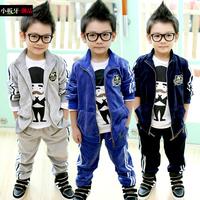 2014 spring children's clothing child baby male child velvet casual sportswear set z0572