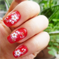 Min.order is $5 New 2014 3D Nail Art Sticker Decal White Flower Cameo Golden Rhinestone Design Decorations French Manicure Foils