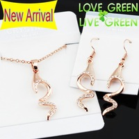 2014 Free shipping high quality brand bridal 18K rose Gold Crystal fish bone fashion jewelry sets Necklace Earrings 80139