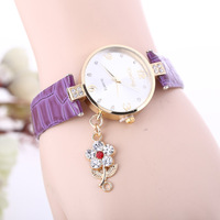 Hot 2014 newest Fashion Crystal Rhinestone Rose Pendant, Woman Leather Quartz Watches Free Dropship