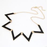 2014 Fashion Joker Short Wave Triangle Fashion Metal Necklace Short Necklace Short Sweater Chain For Women fashion jewelry