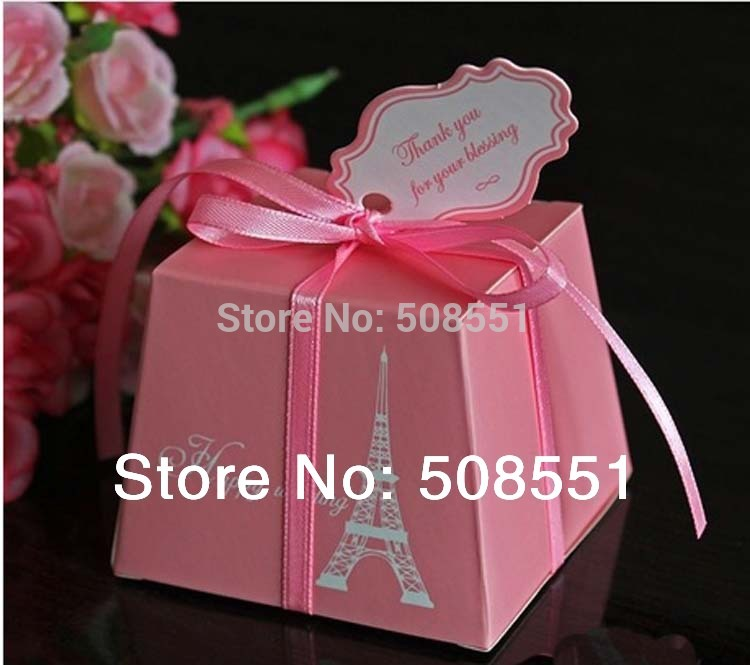 Free shipping pink and sky blue European style paperboard Wedding Candy Box Favor box wedding party gift present Chocolate Box(China (Mainland))