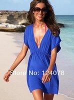Free Shipping New Brand Summer Sex Swim Cover up Maxidress Above Knee White Red V neck Skirt Beach Vestido Praia Bikini Set