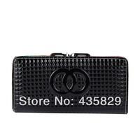 Hot sale:2014 Women's wallet long design shiny zipper coin pocket  Clutch wallet