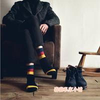 Spring new arrival quality 100% cotton color block decoration male short fashion socks male socks