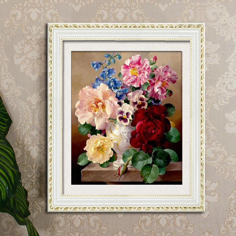 Cucito fai da te 3d kit punto croce pittura ad olio peonia stampa croce- ricamo a punto artigianato di home decor 55*47 cm prezzo basso