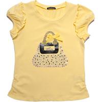 Free Shipping Baby Girls Short Sleeves Tshirt with Cute Handbag Printed,Summer Wear  K6356