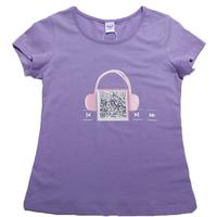 Girls Stylish Tshirts Summer Tops Two-dimension Code & Headphone Printed Tees,Free Shipping K6358