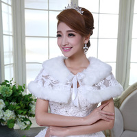2014 wedding fur shawl bridal accessories thickening formal dress lace cape outerwear autumn and winter