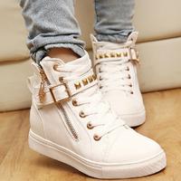 2014 New Rivet Waterproof Denim Lace Up Women Sneakers Fashion Stud Women Skateboarding Canvas Shoes Platform Sneakers for Women