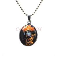 Stainless Steel Enamel Oval Hindu Deity Goddess Mata Krishna Charm Pendant Necklace