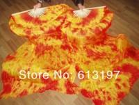 5pair  silk Handmade tie-dye fan veil  hot selling belly dance fan total 18m  long silk fan veil , belly dance silk fan veil