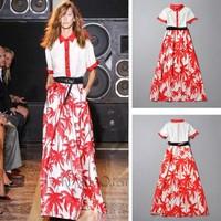 2014 New women short sleeve maxi dress floral print high quality cotton long dress floor length ladies runway full dress summer