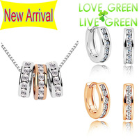 2014 Free shipping high quality brand bridal 18K WHITE Pink Gold Crystal 3 circles fashion jewelry sets Necklace Earrings 80012