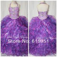 Free Shipping Halter Neckline Beaded Ruffles Tiered Organza Ball Gown Little Girls Pageant Dress Flower Girls Dress HT016