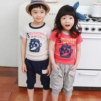 2014 summer children's clothing glass letter baby child male female child short-sleeve T-shirt capris set 5442
