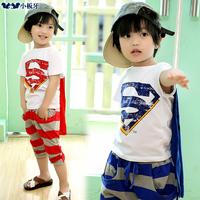 2014 summer children's clothing super man child baby short-sleeve T-shirt male child trousers set 6117