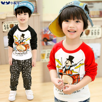 Small die 2014 spring children's clothing cartoon drum print color block decoration male child long-sleeve T-shirt 6646 basic