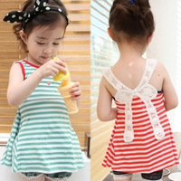 Cutout butterfly vest 2014 summer one-piece dress female baby children's clothing 4417