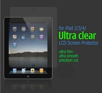 3PC/lot High Quality LCD Clear Screen Protector+Cleaning Cloth for iPad 2/3/4 3 layers Retail Packing Free Shipping