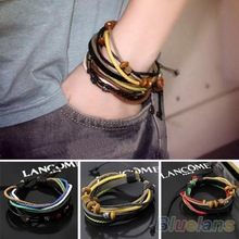 1pcs Womens Mens Wrap Multilayer Genuine Leather Rope Bracelet Chain With Charms 00GO(China (Mainland))