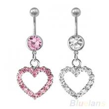 Stainless Steel Rhinestone Heart Dangle Navel Ring Belly Body Piercing 14G