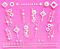 Min.order is $5 Nail Art 3D Stickers Decal White Geometry Square Circle Cameo Bling Clear Crystals Design French Manicure Foils