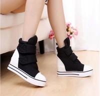 2014 Hot summer boots women summer shoes elevator breathable women platform shoes velcro women flats NX85