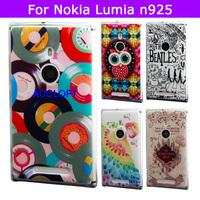Unique Design Cute Owl Bird Hard Plastic Phone Cover Case For Nokia 925 Cover Nokia Lumia 925 Case
