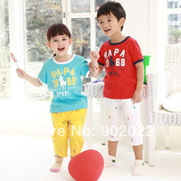 Free Shipping Children Clothing kid's causal printing shirt with pants 2 piece suit