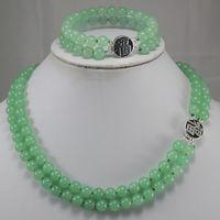 Genuine Pearls 8MM Natural Tiger's eye Stone jade Gift Bracelets necklaces Sets