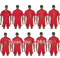 New arrival 2014 spain home red david villa ramos xavi alonso torres fabregas iniesta thai quality soccer jersey kits