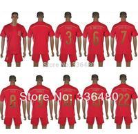 New arrival 2014 spain home red david villa ramos xavi alonso torres fabregas iniesta thai quality soccer jersey+ shorts kits