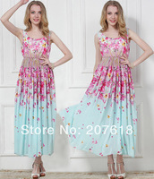 Summer 2014 New Elegant Women Chiffon Tank Dress Plus Size Cherry Blossom Beach Dress Bohemian Long Dress